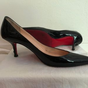 Christian Louboutin Black Patent Kitten Heels 37.5